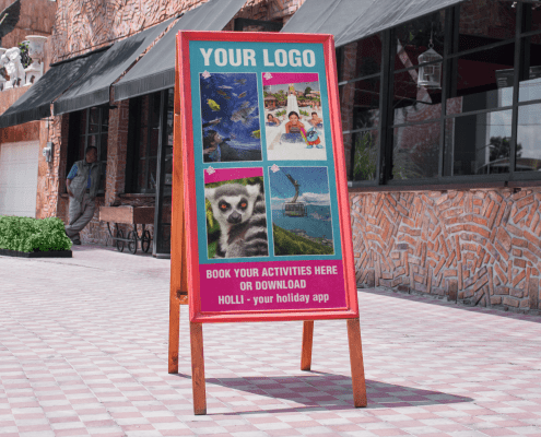 Banner outside of campsite reception promoting local activities