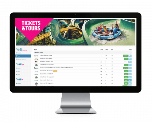 Tickets & Tours activity dashboard screen on an iMac