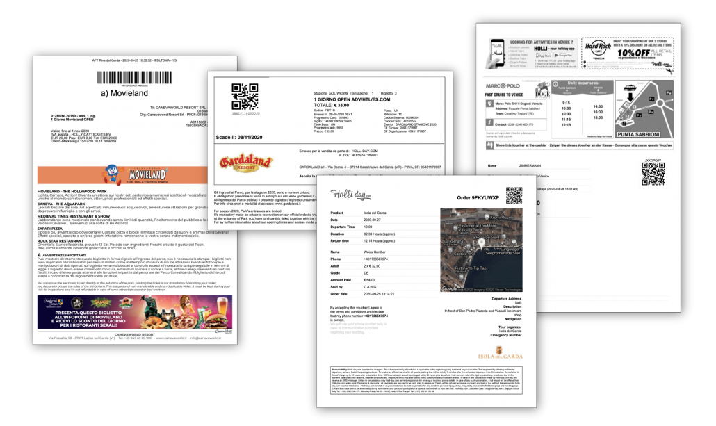 Activity tickets print from Tickets & Tours