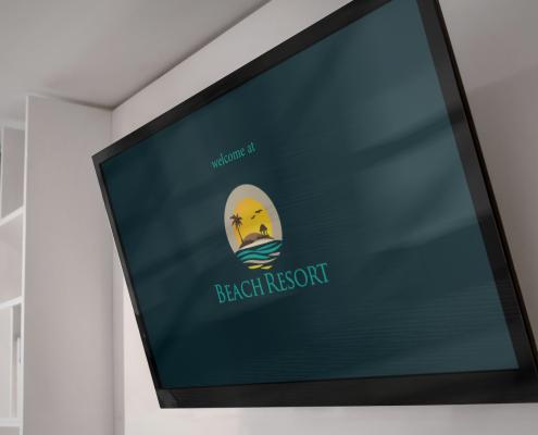 TV met Holli-V laat accommodatie logo zien
