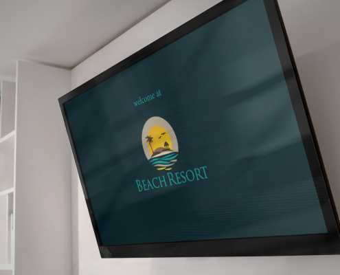 Holli-V displaying resort logo on TV mounted on wall
