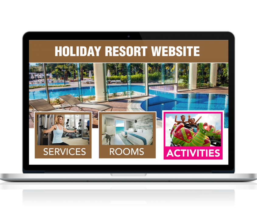 Resort website featuring Holli-Web activity page