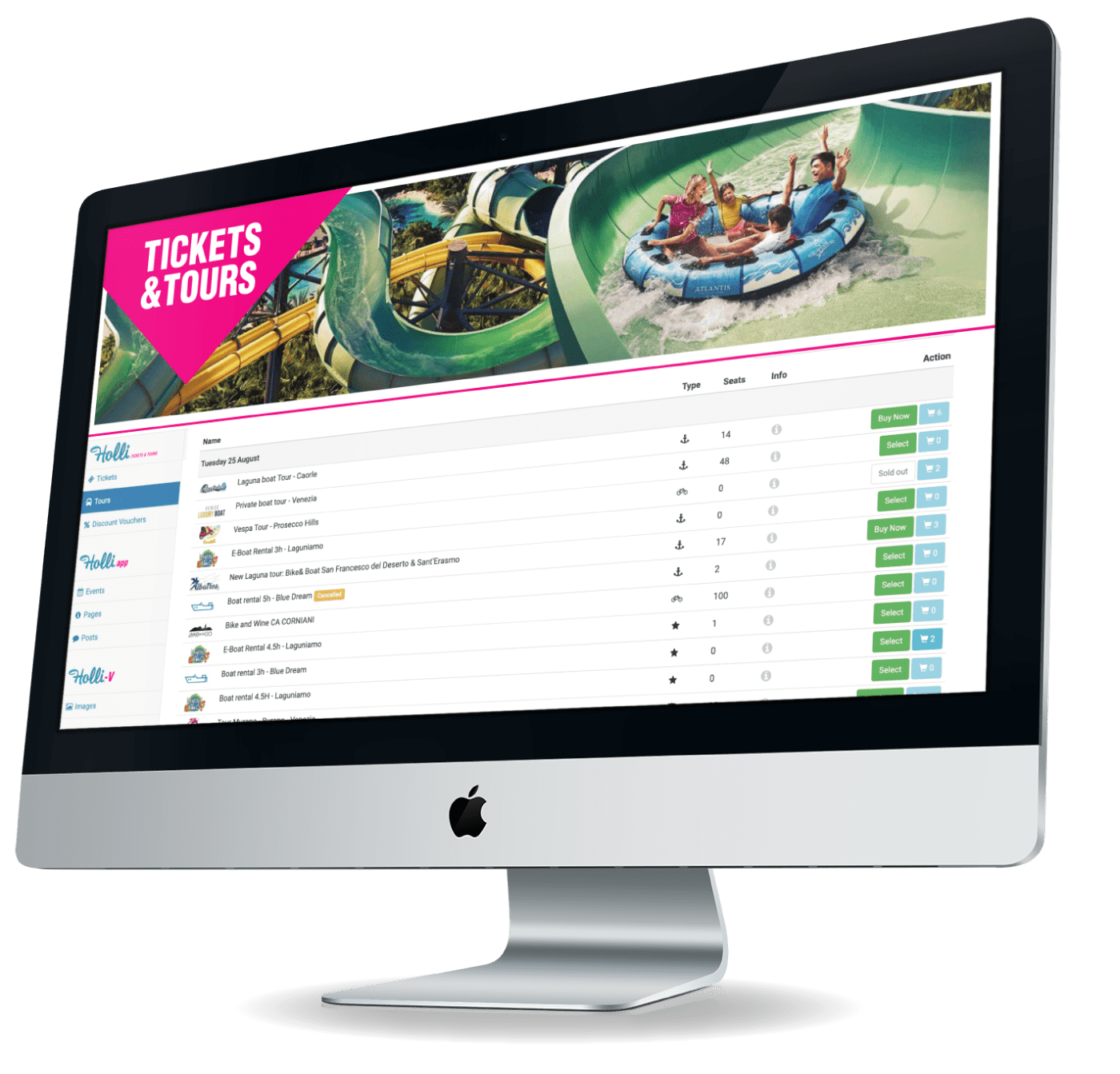Tickets & Tours dashboard screen on an iMac